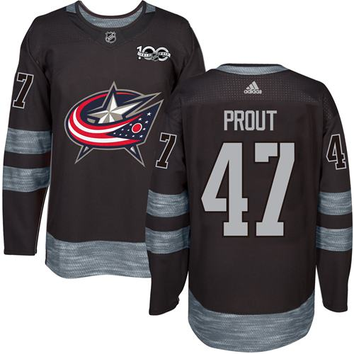 Blue Jackets #47 Dalton Prout Black 1917-2017 100th Anniversary Stitched NHL Jersey