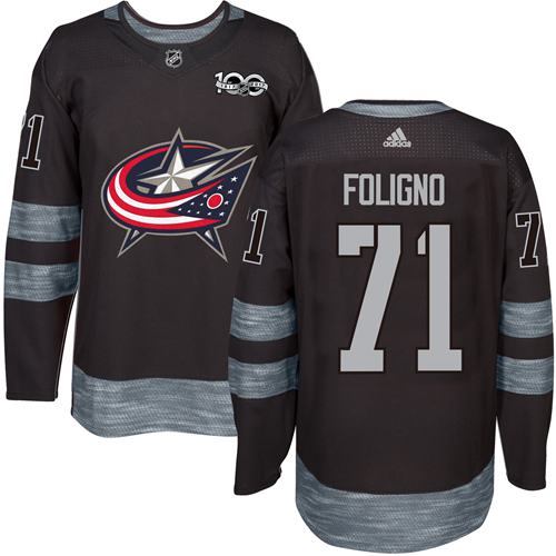 Blue Jackets #71 Nick Foligno Black 1917-2017 100th Anniversary Stitched NHL Jersey