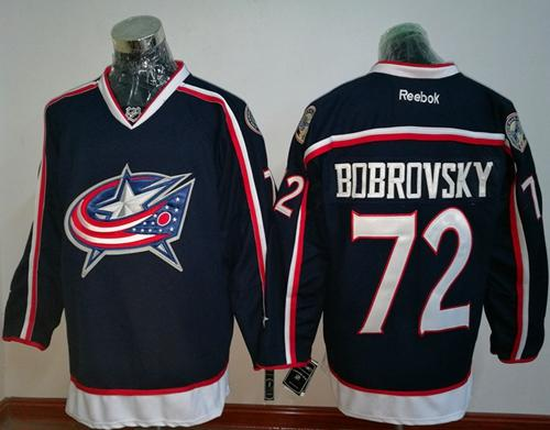 Blue Jackets #72 Sergei Bobrovsky Navy Blue Home Stitched NHL Jersey