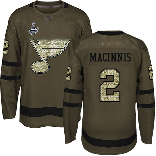 Blues #2 Al MacInnis Green Salute to Service Stanley Cup Final Bound Stitched Hockey Jersey