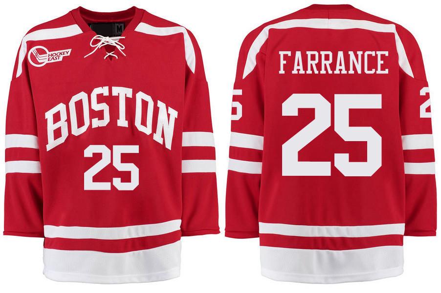 Boston University Terriers BU 25 David Farrance Red Stitched Hockey Jersey
