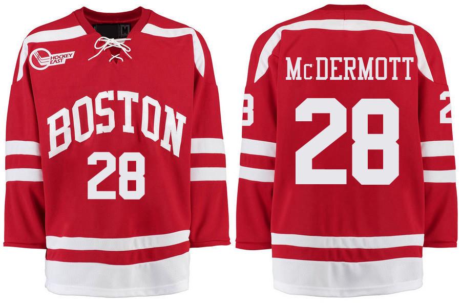 Boston University Terriers BU 28 Johnny McDermott Red Stitched Hockey Jersey
