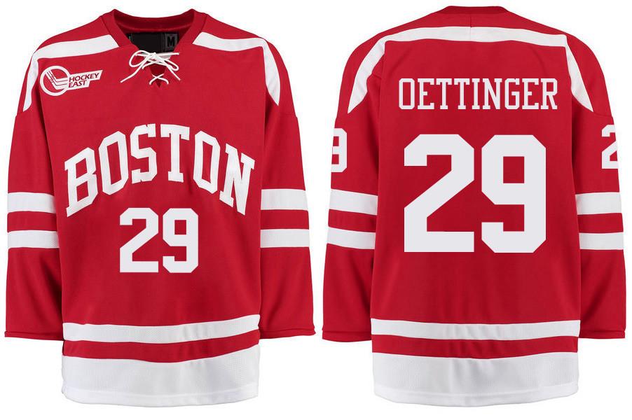 Boston University Terriers BU 29 Jake Oettinger Red Stitched Hockey Jersey