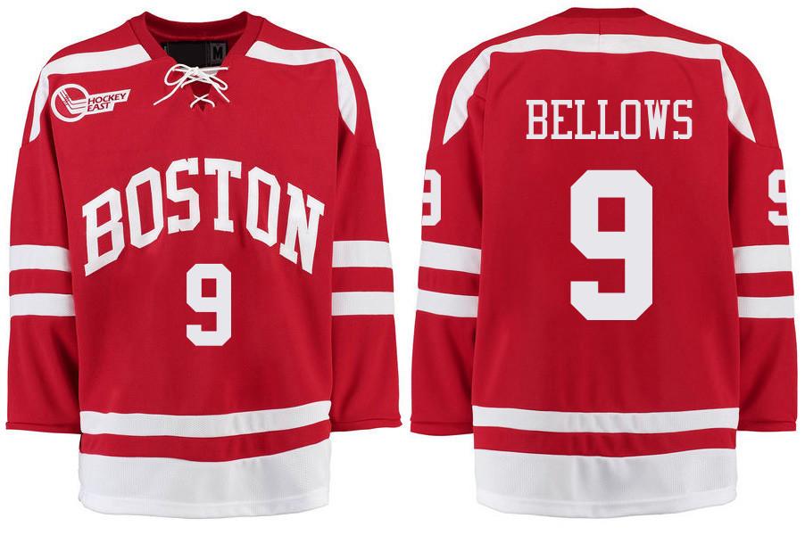 Boston University Terriers BU 9 Kieffer Bellows Red Stitched Hockey Jersey