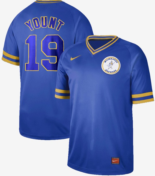 Brewers #19 Robin Yount Royal Authentic Cooperstown Collection Stitched Baseball Jersey