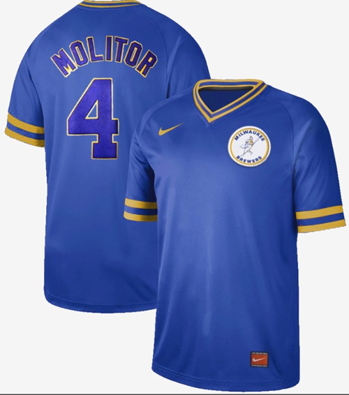 Brewers #4 Paul Molitor Royal Authentic Cooperstown Collection Stitched Baseball Jersey