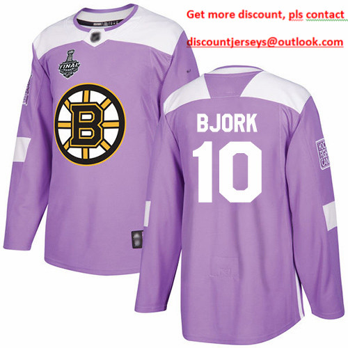 Bruins #10 Anders Bjork Purple Authentic Fights Cancer Stanley Cup Final Bound Stitched Hockey Jersey