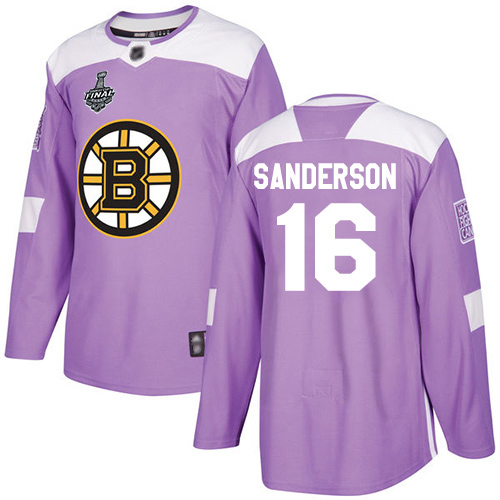 Bruins #16 Derek Sanderson Purple Authentic Fights Cancer Stanley Cup Final Bound Stitched Hockey Jersey