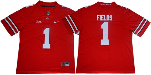 Buckeyes #1 Justin Fields Red Limited Stitched College Jersey