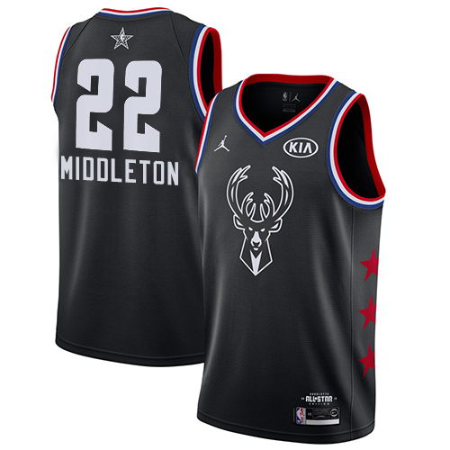 Bucks #22 Khris Middleton Black Basketball Jordan Swingman 2019 All-Star Game Jersey