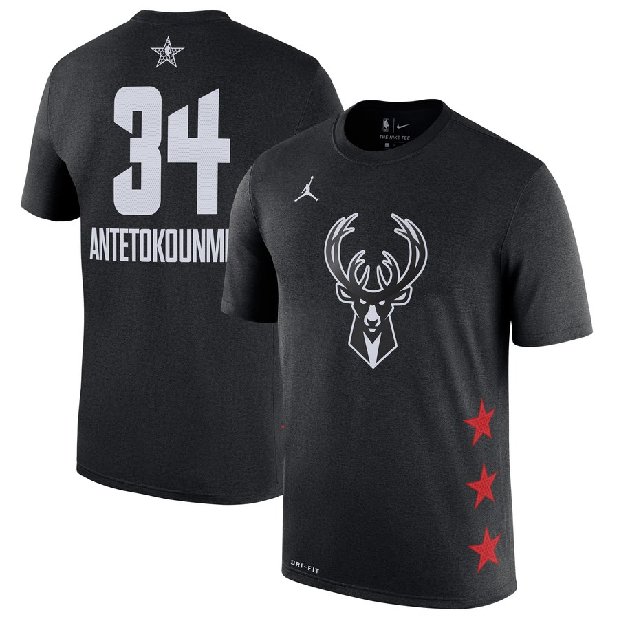 Bucks 34 Giannis Antetokounmpo Black 2019 NBA All-Star Game Men's T-Shirt