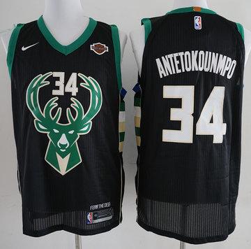 Bucks 34 Giannis Antetokounmpo Black Nike Authentic Jersey