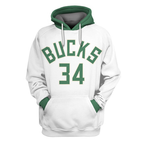Bucks White All Stitched Hooded Sweatshirt