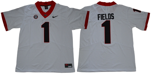 Bulldogs #1 Justin Fields White Limited Stitched NCAA Jersey