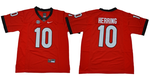 Bulldogs #10 Malik Herring Red Limited Stitched NCAA Jersey