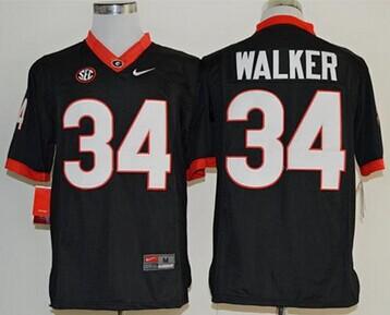 Bulldogs #34 Herschel Walker Black Limited SEC Patch Stitched NCAA Jersey