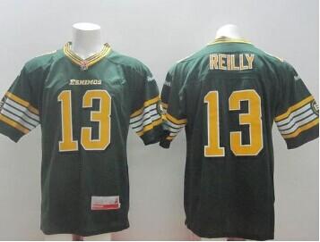 CFL Jersey Edmonton Eskimos #13 Mike Reilly Green Stitched CFL Jersey