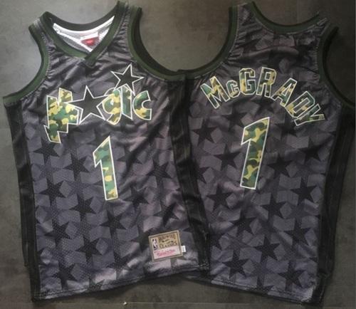 Camo Swingman Magic #1 Tracy Mcgrady Black Stitched Basketball Jersey
