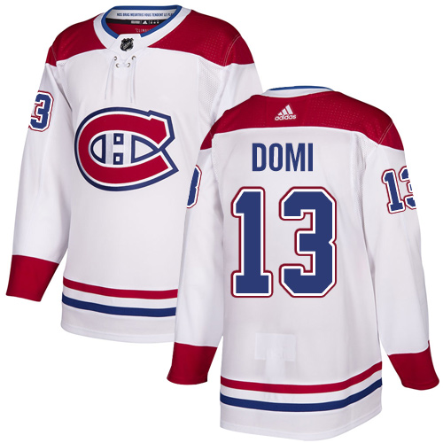 Canadiens #13 Max Domi White Road Authentic Stitched Hockey Jersey
