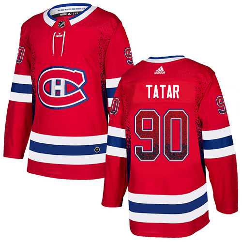 Canadiens #90 Tomas Tatar Red Home Authentic Drift Fashion Stitched Hockey Jersey