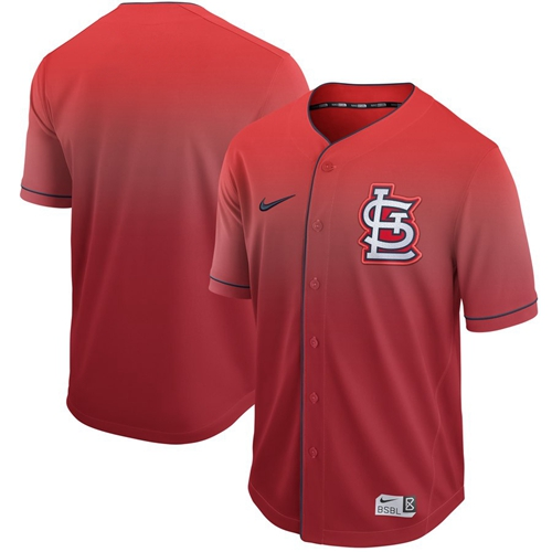 Cardinals Blank Red Fade Authentic Stitched Baseball Jersey