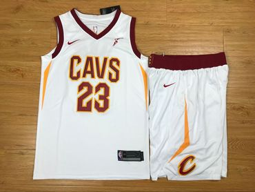 Cheap Cavaliers 23 Lebron James White Nike Swingman Jersey(With Shorts)  supplier