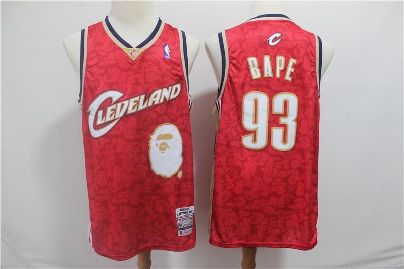Cavaliers 93 Bape Red 2003-04 Hardwood Classics Jersey