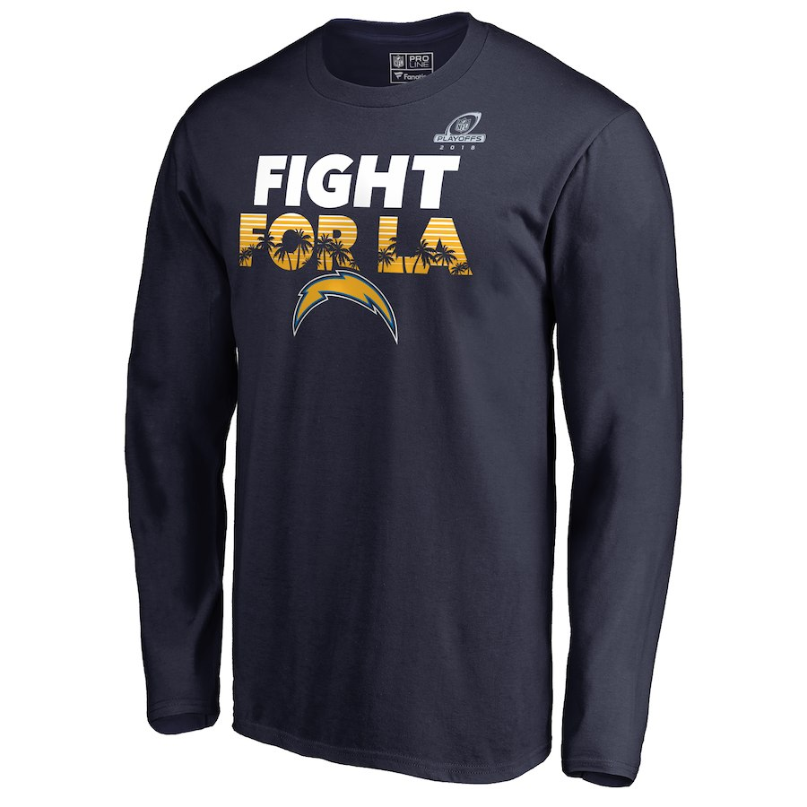 Chargers Navy 2018 NFL Playoffs Fight For LA Men's Long Sleeve T-Shirt