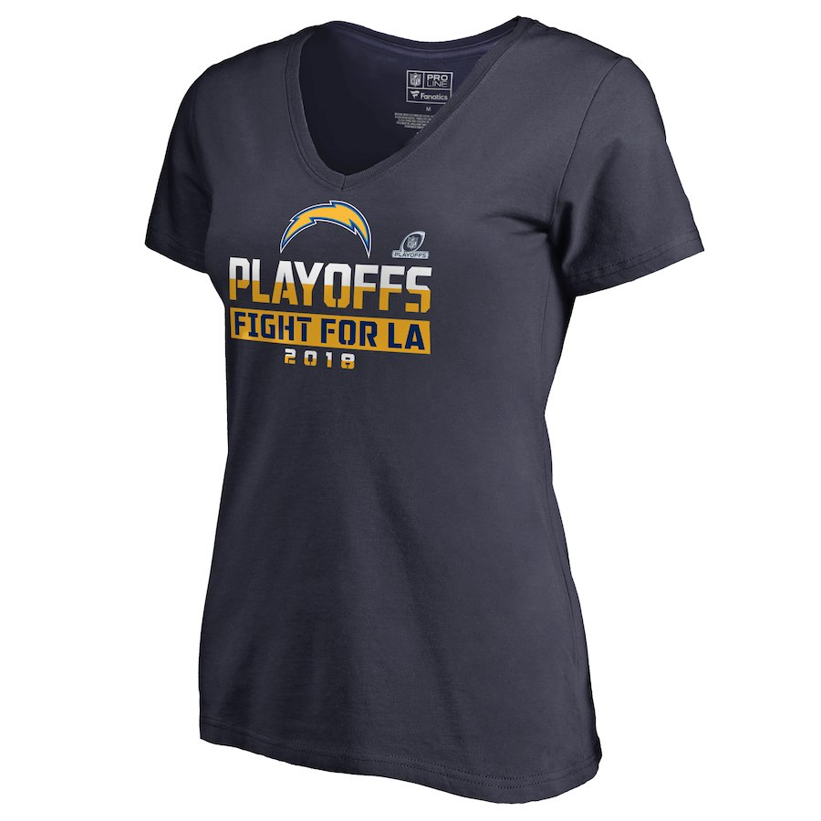 Chargers Navy Women's 2018 NFL Playoffs Fight For LA T-Shirt
