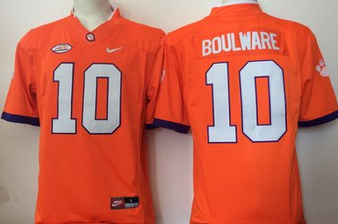 Clemson Tigers 10 Ben Boulware Orange College Football Jersey
