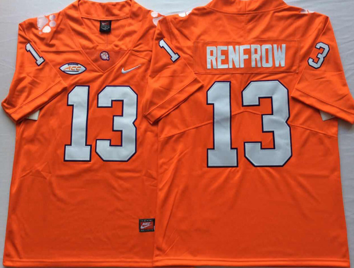 Clemson Tigers 13 Hunter Renfrow Orange Nike College Football Jersey