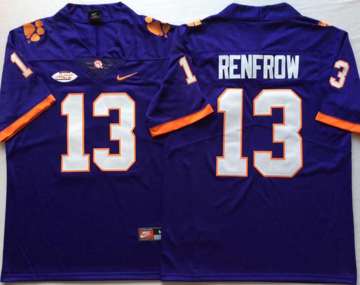 Clemson Tigers 13 Hunter Renfrow Purple Nike College Football Jersey