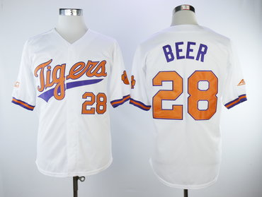 Clemson Tigers 28 Seth Beer White College Baseball Jersey