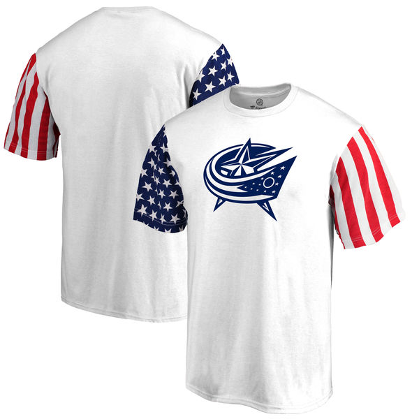 Columbus Blue Jackets Fanatics Branded Stars & Stripes T-Shirt White
