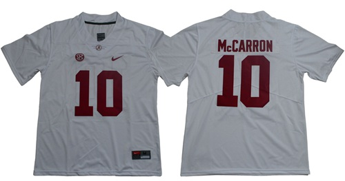 Crimson Tide #10 AJ McCarron White Limited Stitched NCAA Jersey