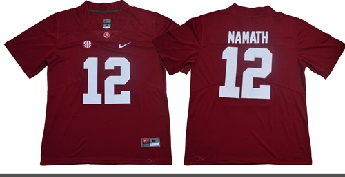 Crimson Tide #12 Joe Namath Red Limited Stitched NCAA Jersey