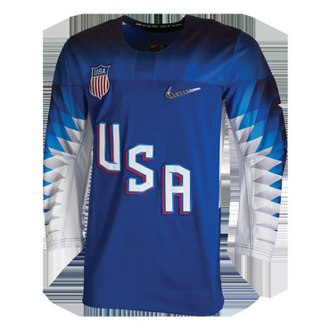 Custom 2018 USA Olympic Hockey Blue Color Jerseys (Any Name Any Number)