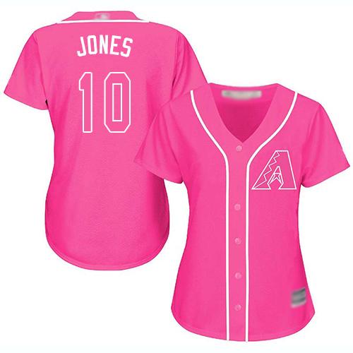 Diamondbacks #10 Adam Jones Pink Fashion Women's Stitched Baseball Jersey