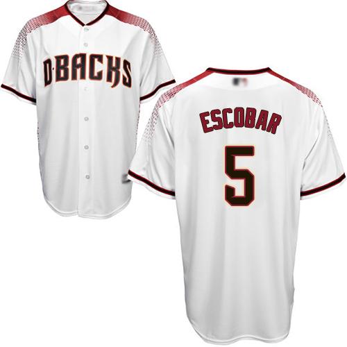 Diamondbacks #5 Eduardo Escobar White Crimson Home Stitched Youth Baseball Jersey