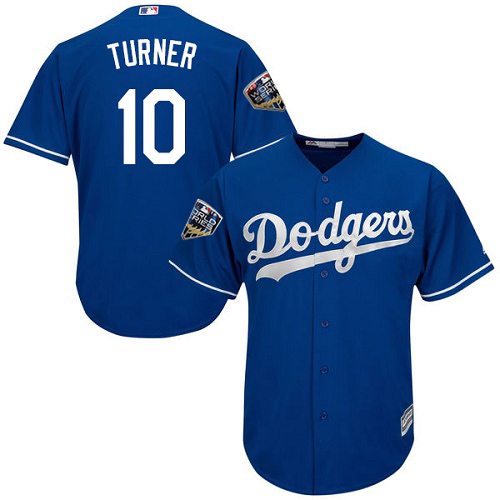 Dodgers #10 Justin Turner Blue Cool Base 2018 World Series Stitched Youth MLB Jersey