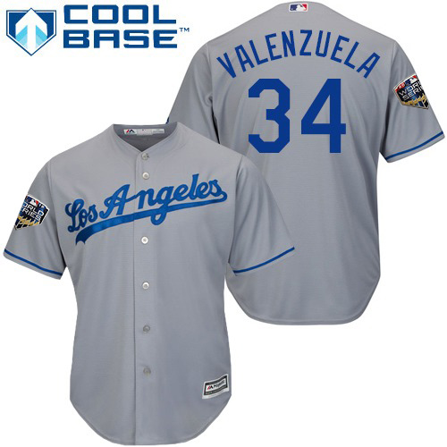 Dodgers #34 Fernando Valenzuela Grey Cool Base 2018 World Series Stitched Youth MLB Jersey