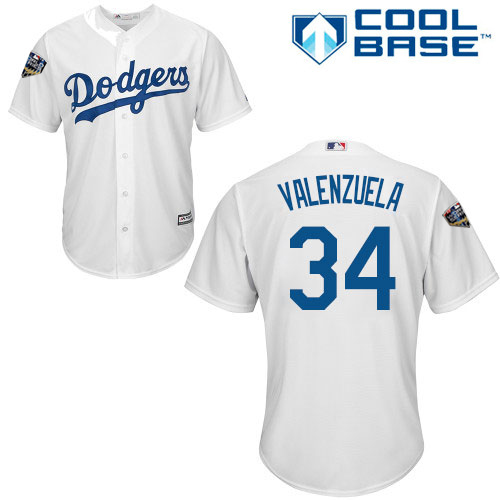 Dodgers #34 Fernando Valenzuela White Cool Base 2018 World Series Stitched Youth MLB Jersey