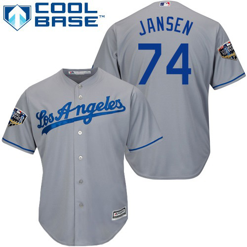 Dodgers #74 Kenley Jansen Grey Cool Base 2018 World Series Stitched Youth MLB Jersey