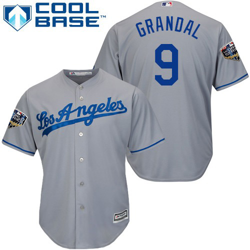 Dodgers #9 Yasmani Grandal Grey Cool Base 2018 World Series Stitched Youth MLB Jersey