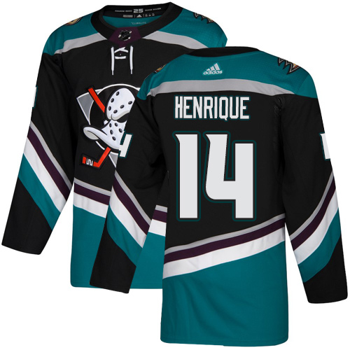 Ducks #14 Adam Henrique Black Teal Alternate Authentic Stitched Hockey Jersey