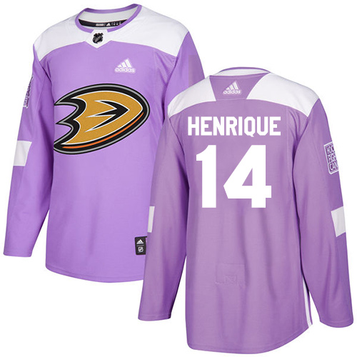 Ducks #14 Adam Henrique Purple Authentic Fights Cancer Stitched Hockey Jersey