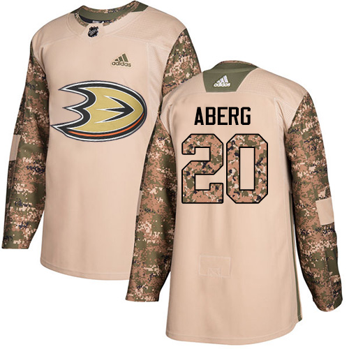 Ducks #20 Pontus Aberg Camo Authentic 2017 Veterans Day Stitched Hockey Jersey
