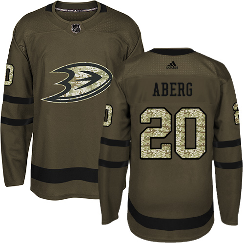Ducks #20 Pontus Aberg Green Salute to Service Stitched Hockey Jersey