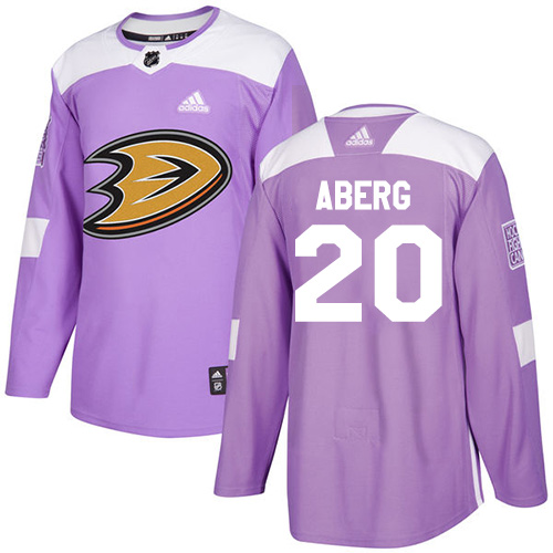 Ducks #20 Pontus Aberg Purple Authentic Fights Cancer Stitched Hockey Jersey