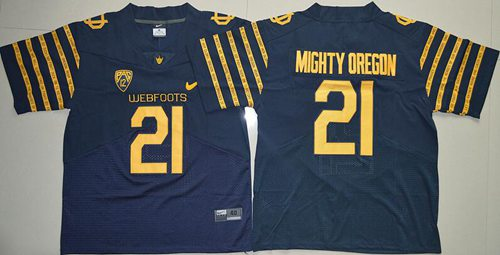 Ducks #21 Mighty Oregon Navy Blue Webfoots 100th Rose Bowl Game Elite Stitched NCAA Jersey